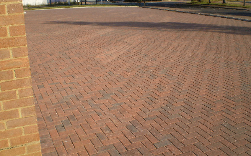 a block paving car park installation