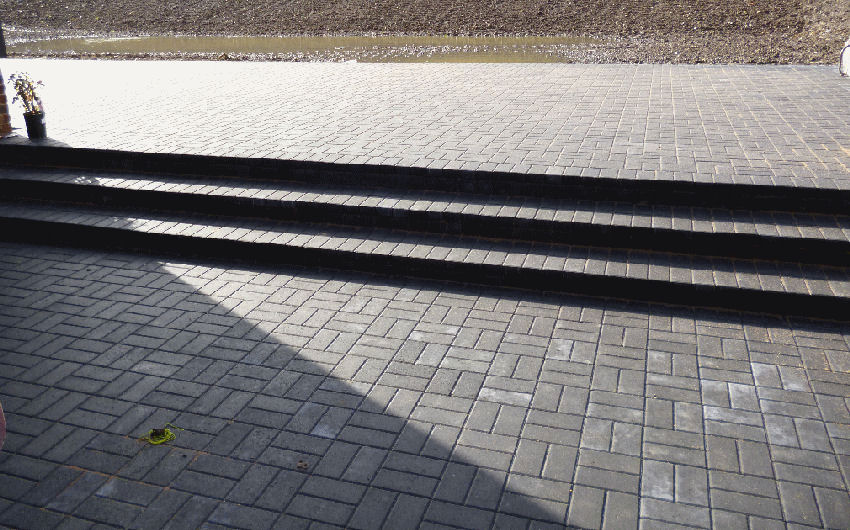 a block paving patio installation