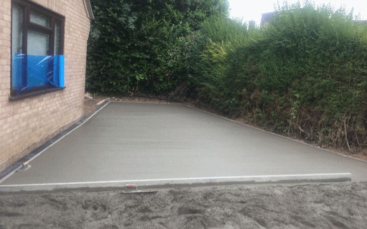 A concrete surfaced driveway installation