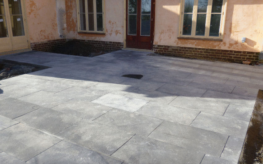 a paved patio installation