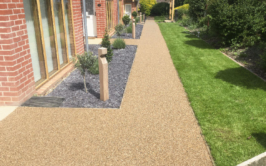A resin bound surfacing path
